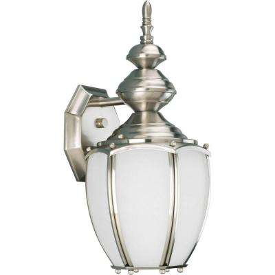 Roman Coach Collection Wall Mount 15.3 in. Outdoor Brushed Nickel Wall Lantern Sconce