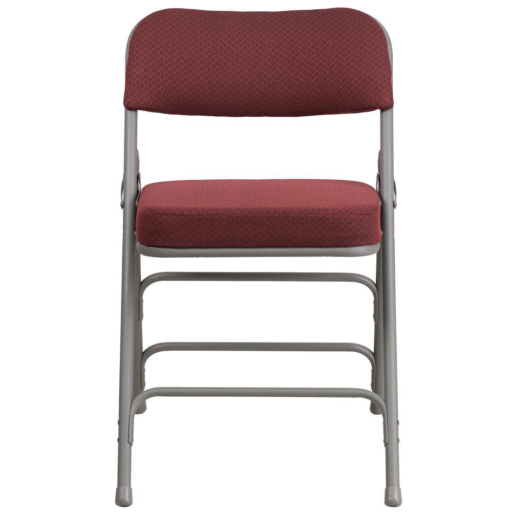 Hercules Series Premium Curved Triple Braced & Double Hinged Burgundy Fabric Upholstered Metal Folding Chair
