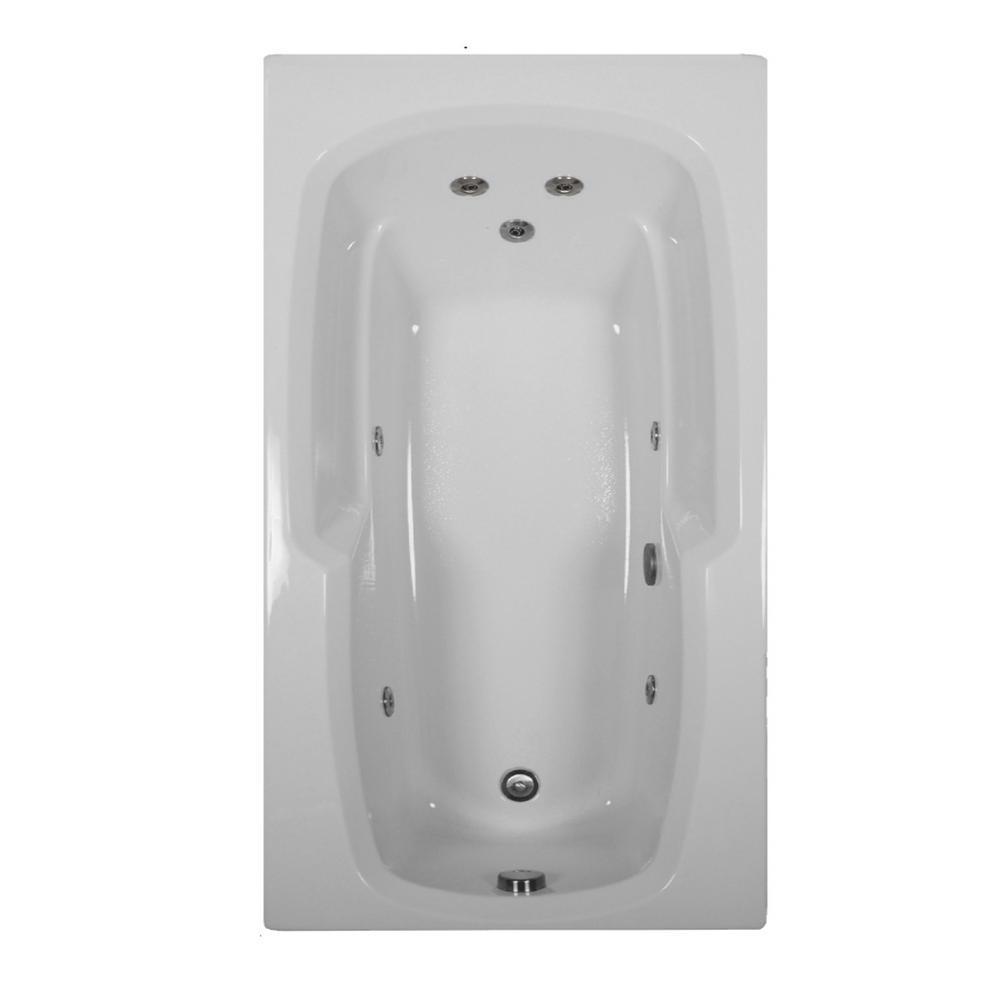 72 in. Rectangular Drop-in Whirlpool Bathtub in Black