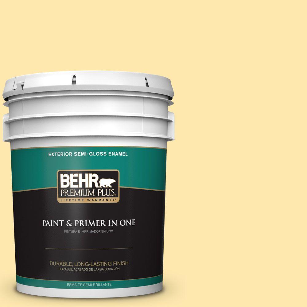 BEHR Premium Plus 5-gal. #350B-4 Lemon Souffle Semi-Gloss Enamel Exterior Paint