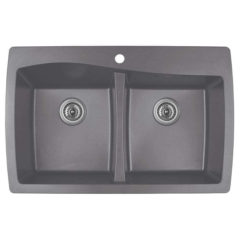 Drop-In Quartz Composite 34 in. 1-Hole 50/50 Double Bowl Kitchen Sink