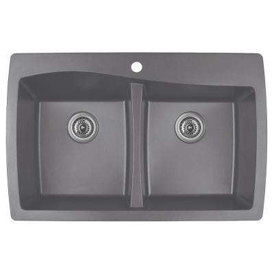 Drop-In Quartz Composite 34 in. 1-Hole 50/50 Double Bowl Kitchen Sink in Grey