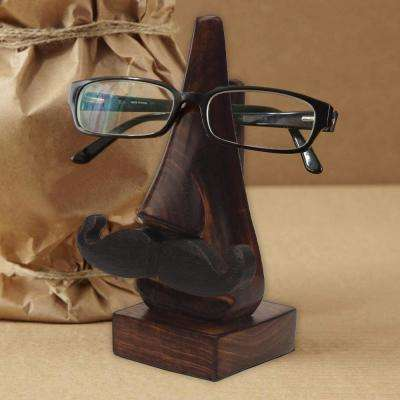 Nose Shaped Brown Wooden Hand Carved Spectacle Holder with Mustache