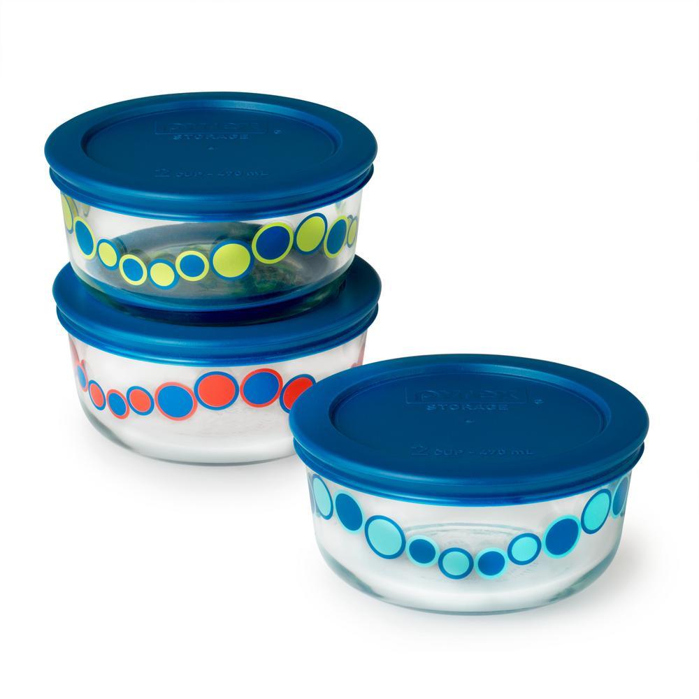 Simply Store 6-Piece Glass Bubblegum Decorated 2-Cup Storage Set