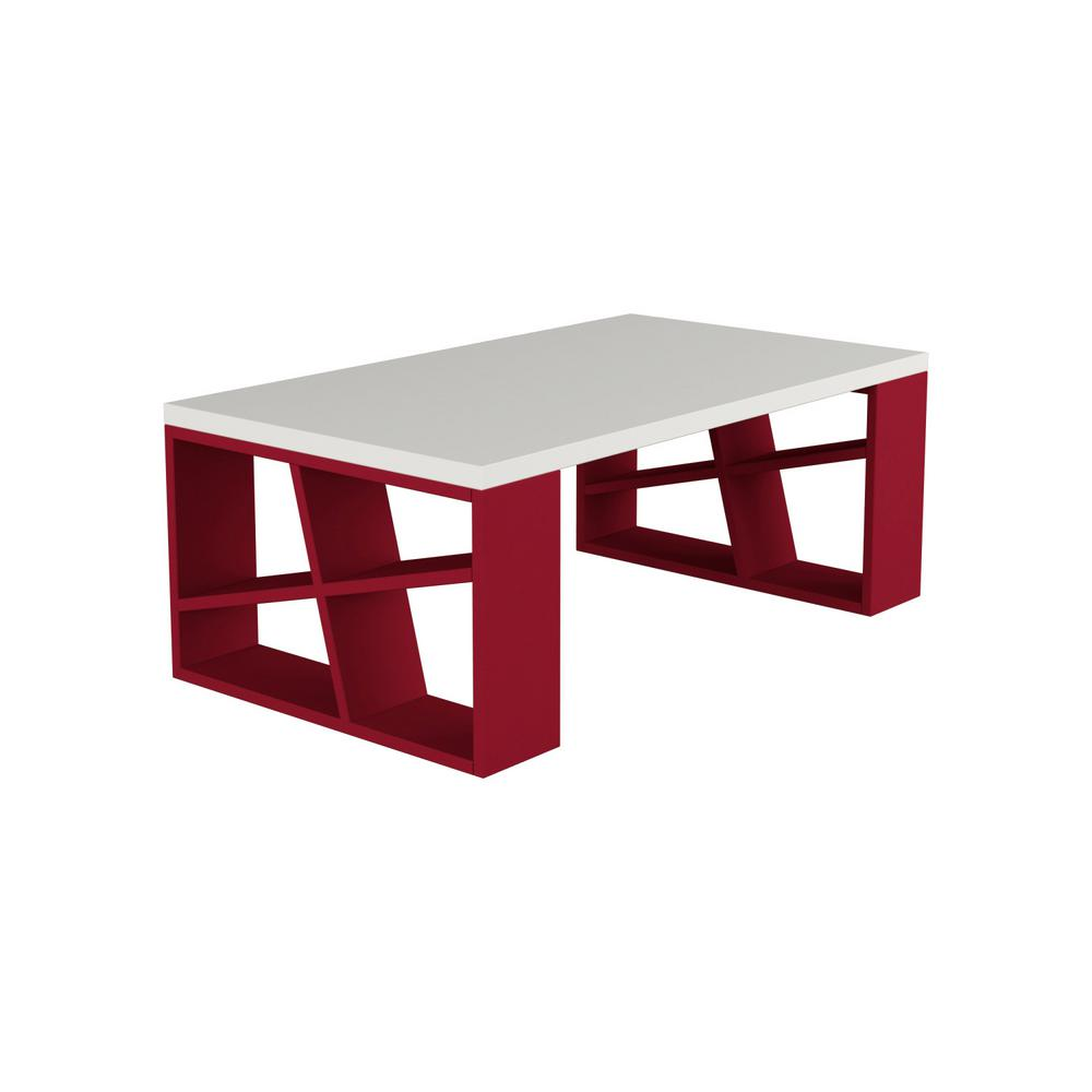 Ada Home Decor Brian White And Burgundy Modern Coffee Table