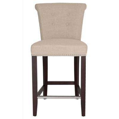 Luxe 26 in. Almond Fabric, Espresso Counter Stool