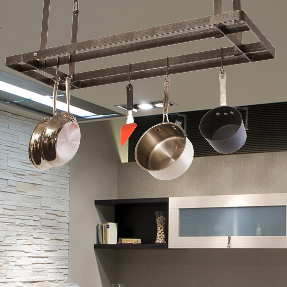 Enclume Handcrafted All Bars Ceiling Pot Rack With 12 Hooks Hammered Steel Pr39 Hs The Home Depot