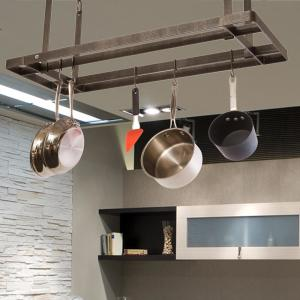 Enclume Gray All Bars Ceiling Pot Rack in Hammered Steel by Enclume
