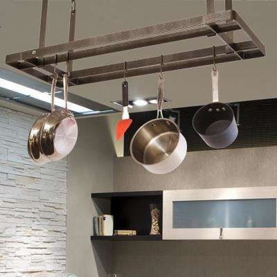 Gray All Bars Ceiling Pot Rack in Hammered Steel