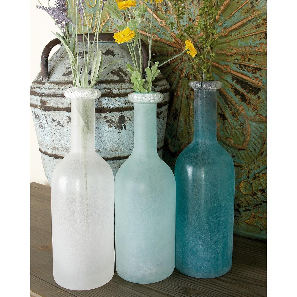 15 in. Polished Frosted Blue, Turquoise and White Glass Decorative Vases