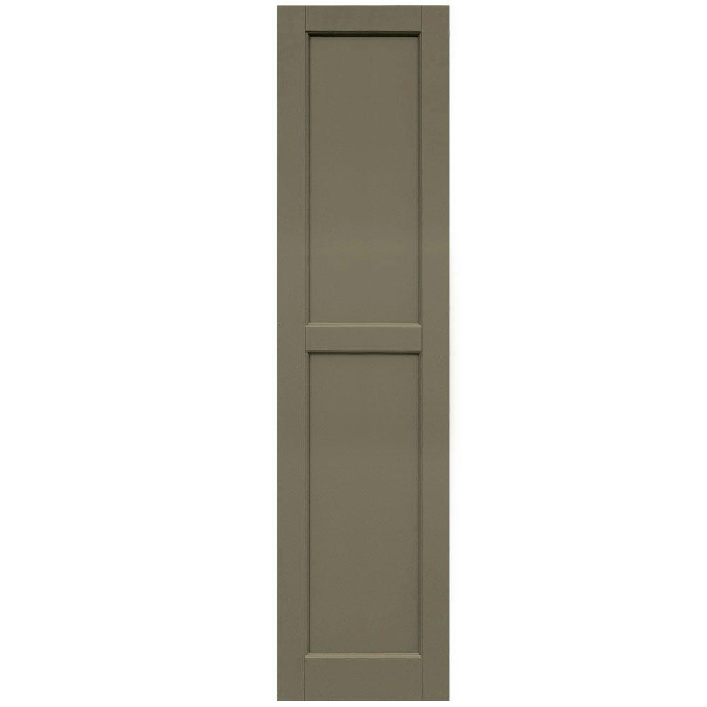 Winworks Wood Composite 15 in. x 61 in. Contemporary Flat Panel Shutters Pair #660 Weathered Shingle