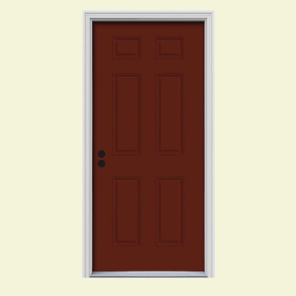 JELD-WEN 36 in. x 80 in. 6-Panel Mesa Red Painted Steel Prehung Right-Hand Inswing Front Door w/Brickmould