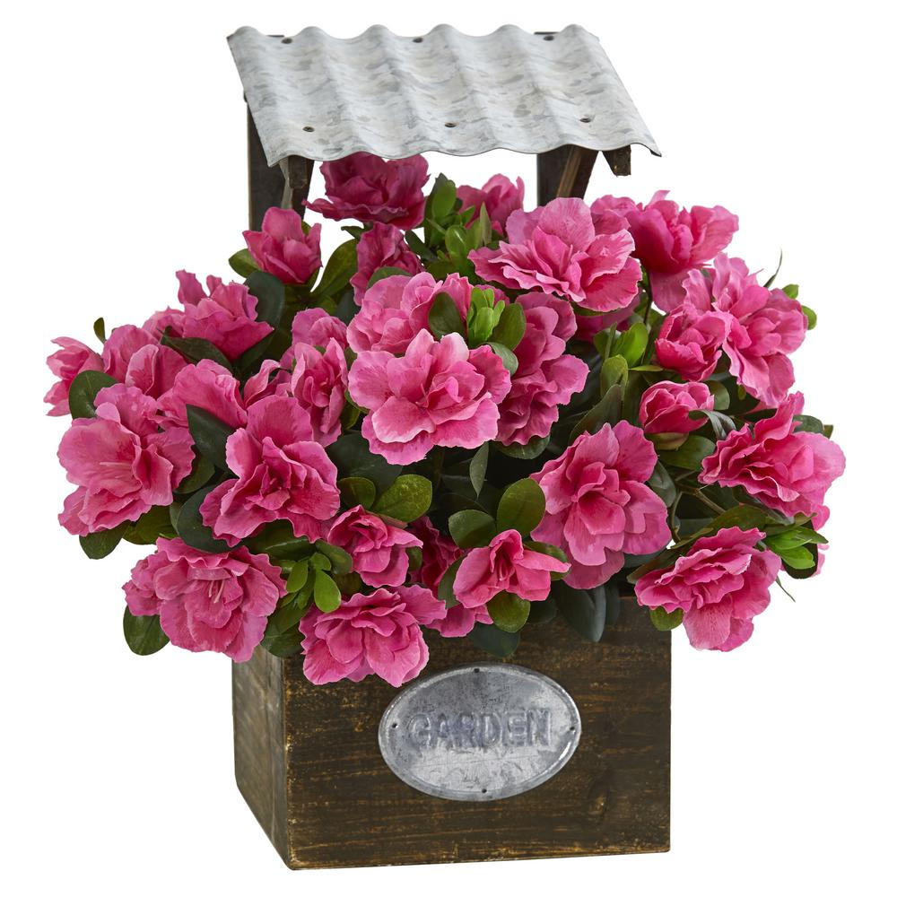 Nearly Natural Azalea Artificial Plant in Tin Roof Wood P...