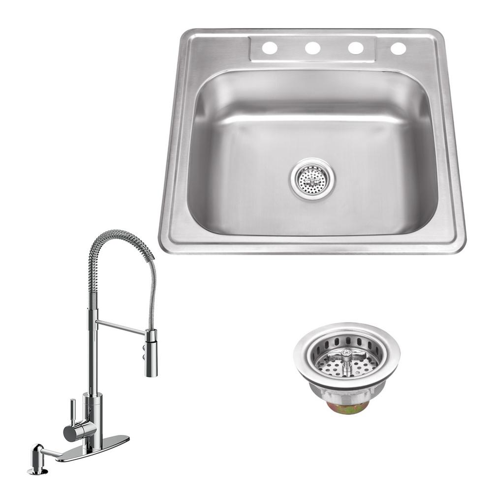 IPT Sink Company All-in-One Drop In Stainless Steel 25 in. 4-Hole Single Bowl Kitchen Sink with Polished Chrome Kitchen Faucet