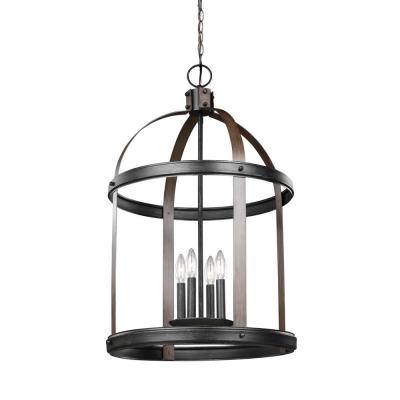 Lonoke 19 in. W. 4-Light Weathered Gray and Distressed Oak Hall-Foyer Pendant