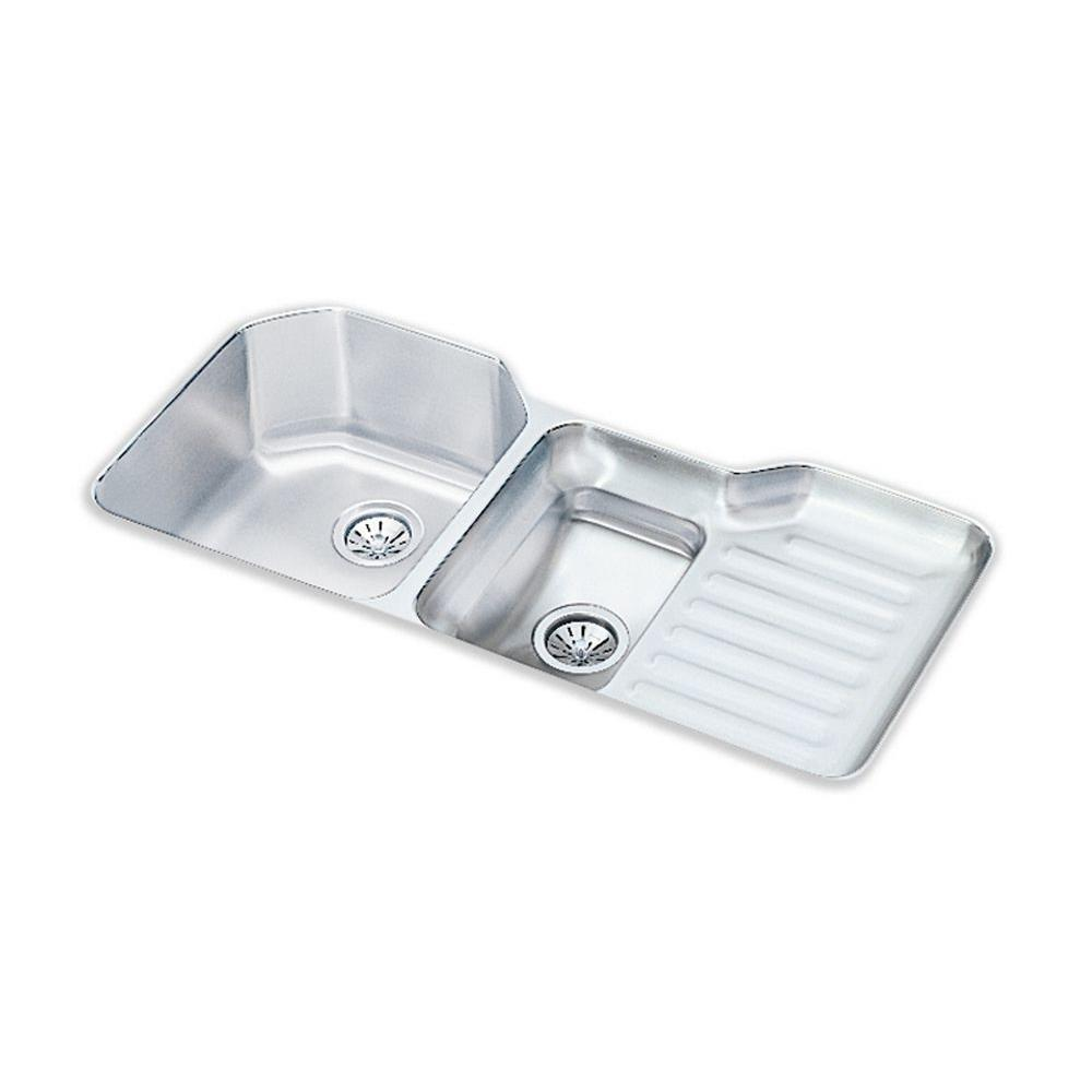 Elkay Lustertone Undermount Stainless Steel 42 In. Double Bowl Kitchen Sink ELUH4221L    The Home Depot