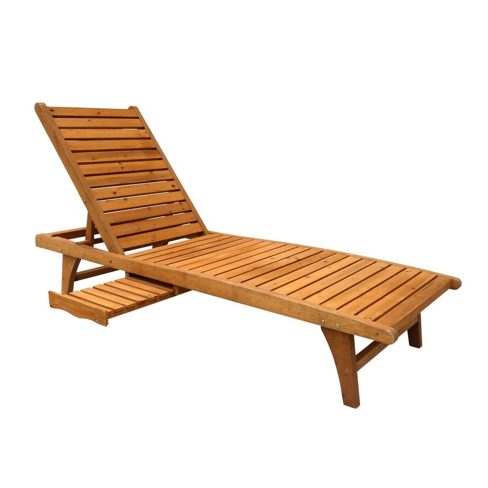 Leisure season patio lounge chaise with pull out tray for Build chaise lounge