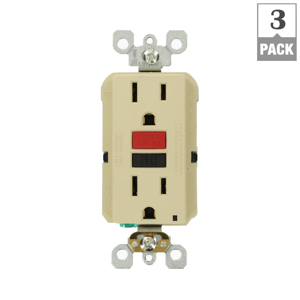 Eaton 15 Amp Combination Ground Fault Circuit Interrupter With 20 Leviton Gfci Wiring Diagram Self Test Smartlockpro Slim Duplex Outlet Ivory 3 Pack