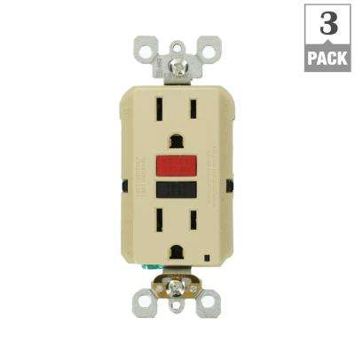 15 Amp Self-Test SmartlockPro Slim Duplex GFCI Outlet, Ivory (3-Pack)