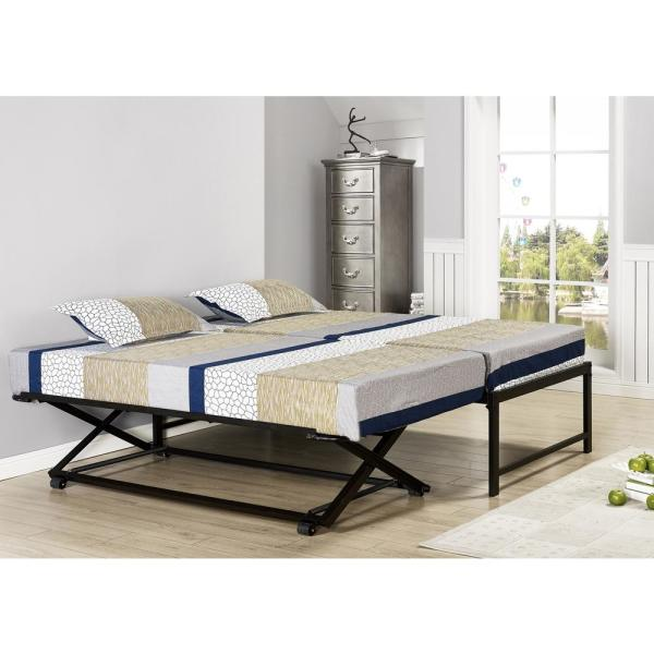 Signature Home Black Twin Size Metal Pop Up Trundle Bed 3 93b The Home Depot