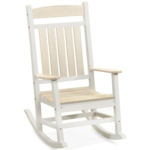 Classic Rocker White and Birchwood Recycled Plastic Outdoor Rocking Chair