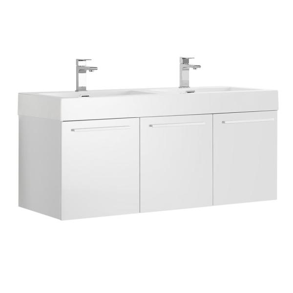 Vista 47 in. Modern Double Bathroom Wall Hung Vanity Cabinet Only in White