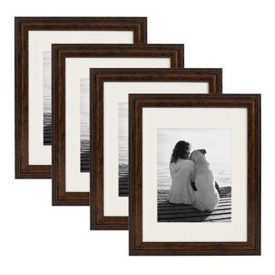 Martinez 11 in. x 14 in. Matted to 8 in. x 10 in. Bronze Picture Frame (Set of 4)