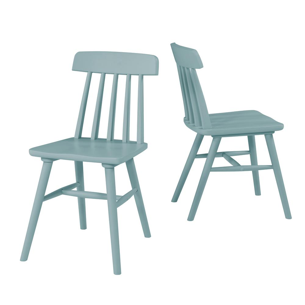 Handy Living Brookside Sky Blue Armless Wood Dining Chair Set Of 2