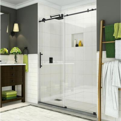 Coraline 56 in. to 60 in. x 76 in. Frameless Sliding Shower Door in Matte Black