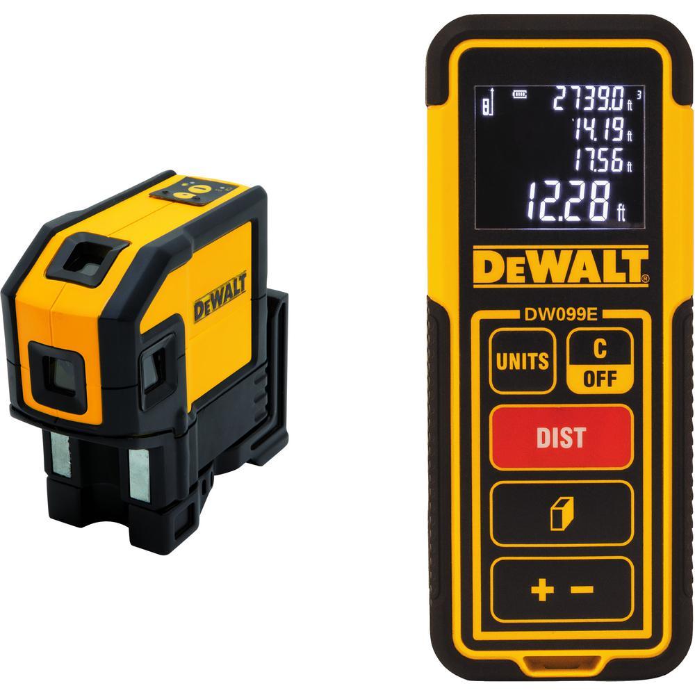 Dewalt Self Leveling Red Line Laser Level With 100 Ft Laser Distance Measurer Dw0851wdw099e The Home Depot