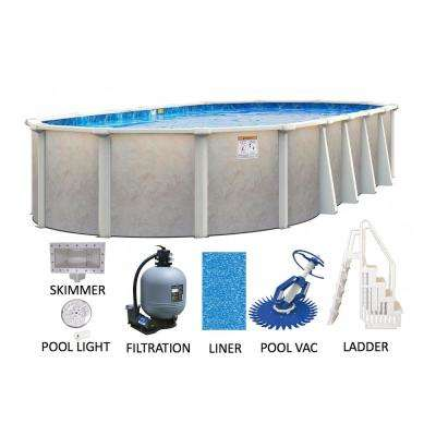 Ashford 15 ft. x 30 ft. Oval 52 in. D Hard Side Metal Wall/Frame Above Ground Swimming Pool Package w/Entry Step System