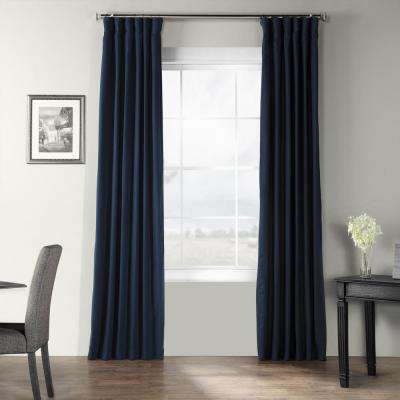 Elegant Navy Blue Bark Weave Solid Cotton Curtain - 50 in. W x 96 in. L