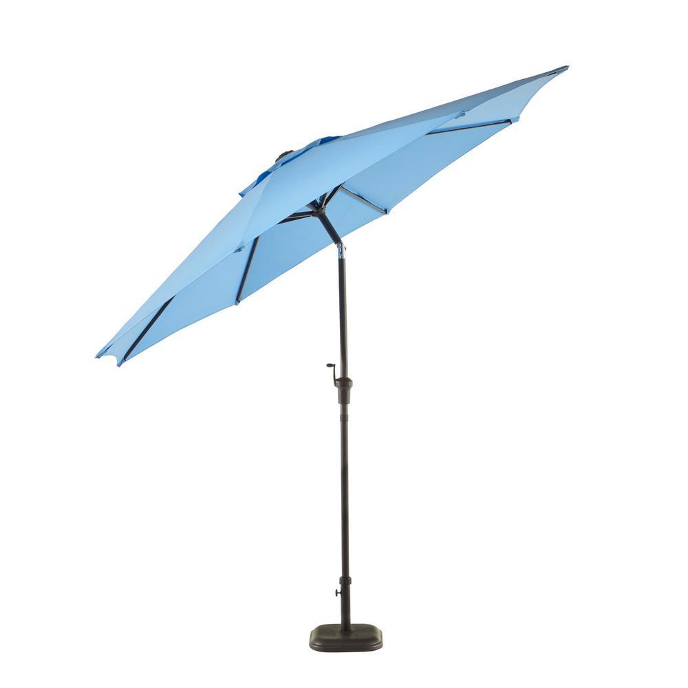 9 ft. Riverbrook Steel Espresso Brown Market Crank and Tilt Outdoor Patio Umbrella in Periwinkle Purple