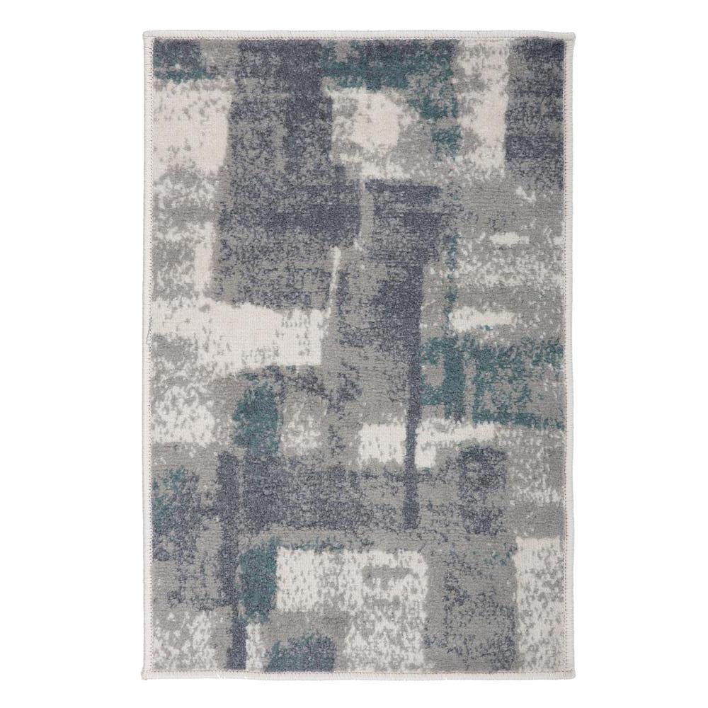 World Rug Gallery Contemporary Geometric Boxes Design Gray 2 Ft