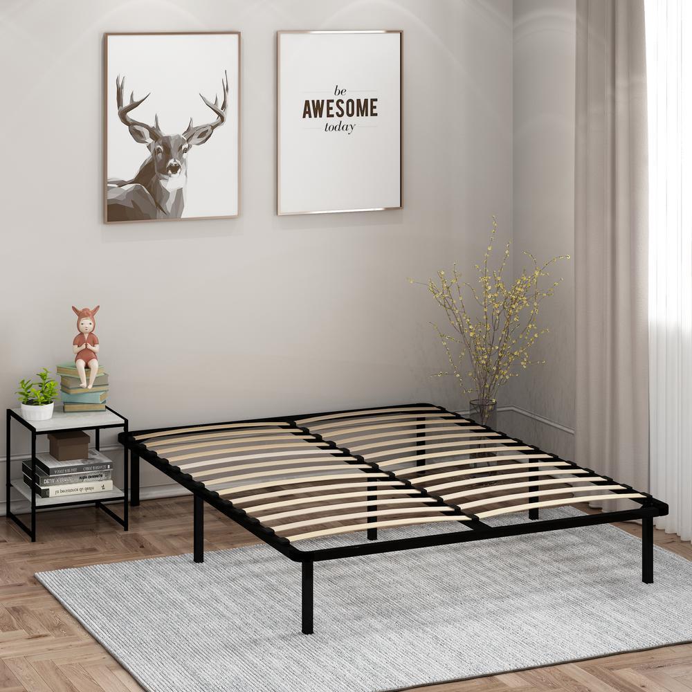 Cannet Queen Metal Platform Bed Frame with Wooden Slats