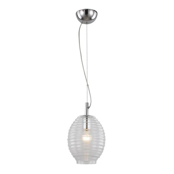1-Light Polished Chrome Pendant with Clear Bee Hive Glass