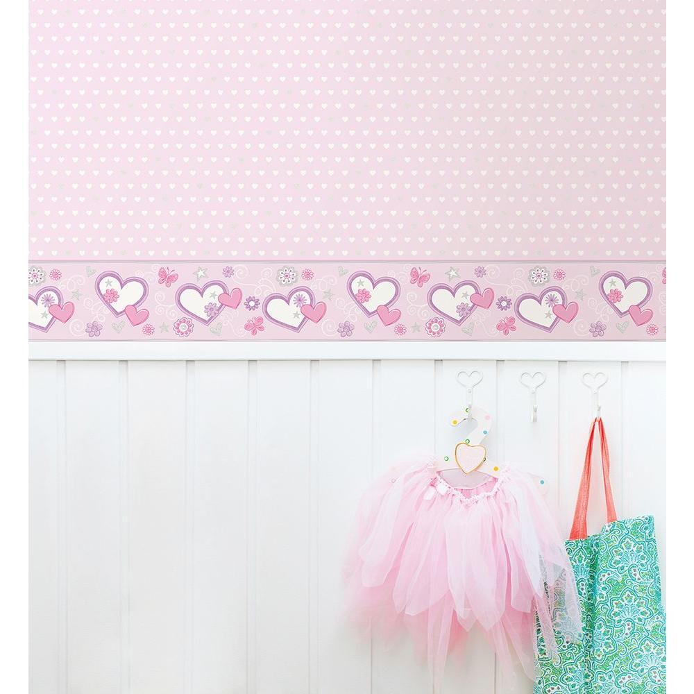 Heart Felt Doodle Lilac Wallpaper Border