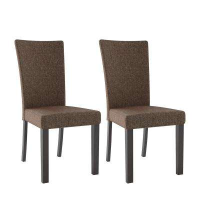 Bistro Chestnut Bark Brown Fabric Dining Chairs (Set of 2)