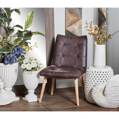 Dark Brown Wood and Fabric Tufted Dining Chair