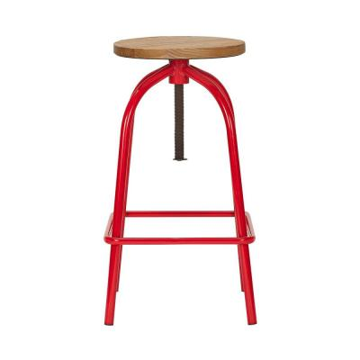 StyleWell Ruby Red Metal Adjustable Backless Counter Stool with Swivel (14.17 in. W x 24.41 in. H)