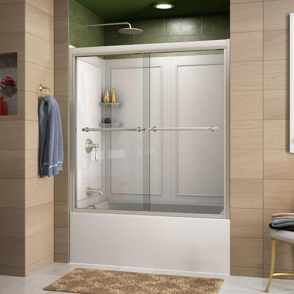 DreamLine Duet 55 to 59 in. x 60 in. Semi-Frameless Sliding Tub Door in Brushed Nickel and Backwall with Glass Shelves