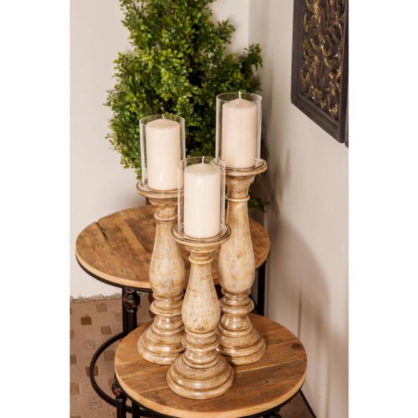 Litton Lane Distressed Beige Baluster-Shaped Mango Wood Candle Holders (Set of