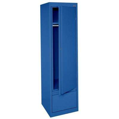 System Series 17 in. W x 64 in. H x 18 in. D Single Door Wardrobe Cabinet with File Drawer in Blue