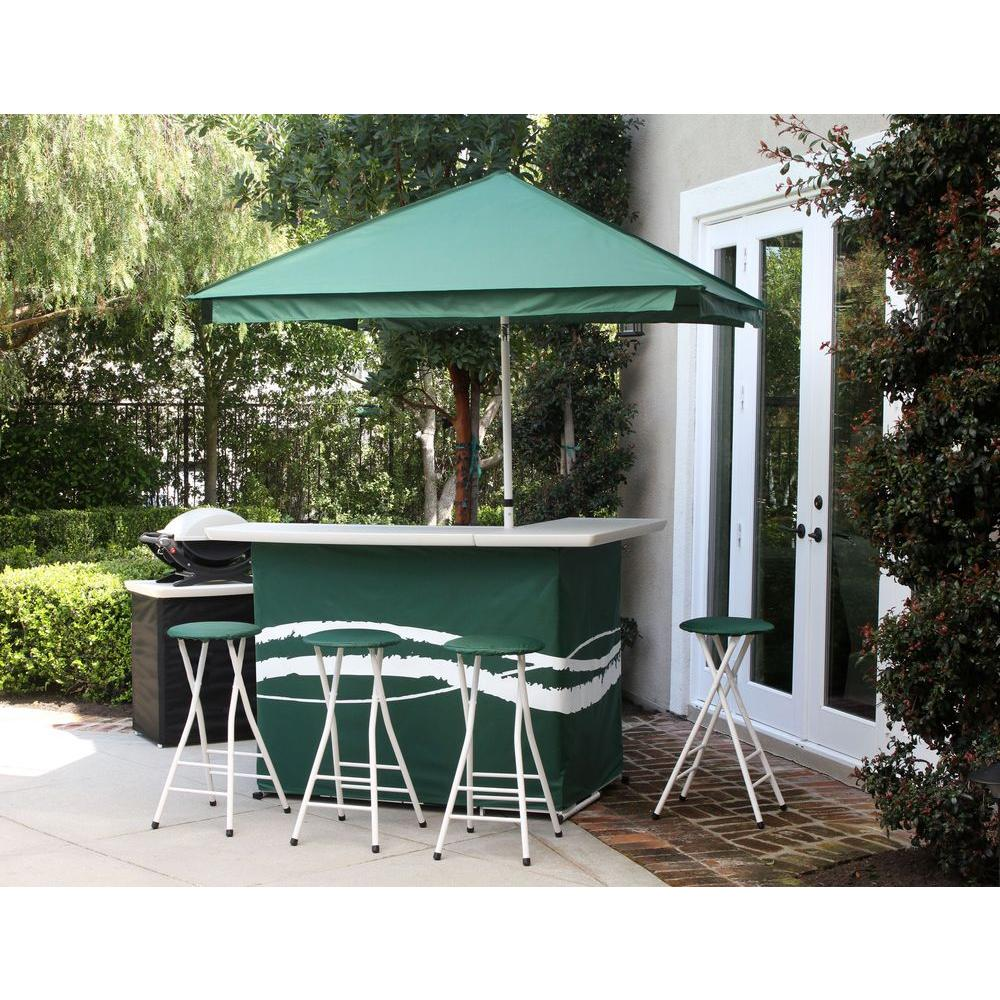 Best of Times Classic Green All-Weather Patio Bar Set with 6 ft. Umbrella