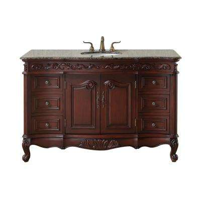 Princeton 56 in. Vanity in Dark Cherry with Granite Vanity Top in Baltic Brown with White Under-Mount Sink