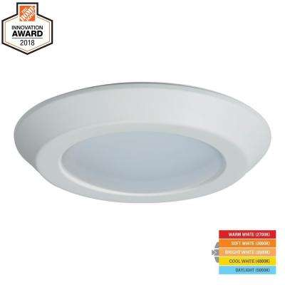 BLD 6 in. White Integrated LED Recessed Ceiling Mount Light Trim at Selectable CCT (2700K-5000K), Title 20 Compliant