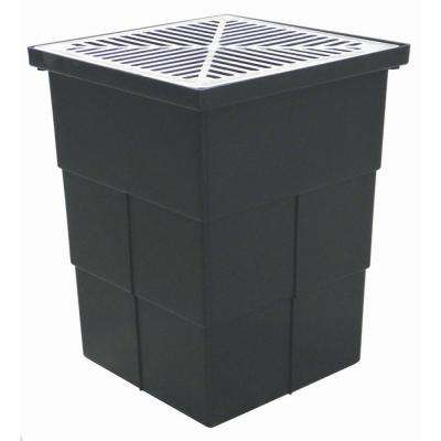18 in. x 14 in. Storm Water Pit and Catch Basin for Modular Trench and Channel Drain Systems with Aluminum Grate