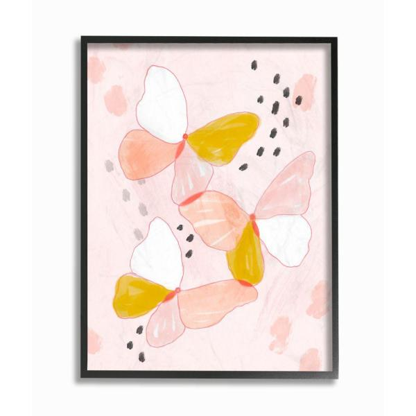 Abstract Canvas Print Floral Butterfly Pink Grey Unique Wall Art Various Sizes