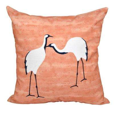 16 in. x 16 in. Coral Stilts Animal Print Pillow Coral
