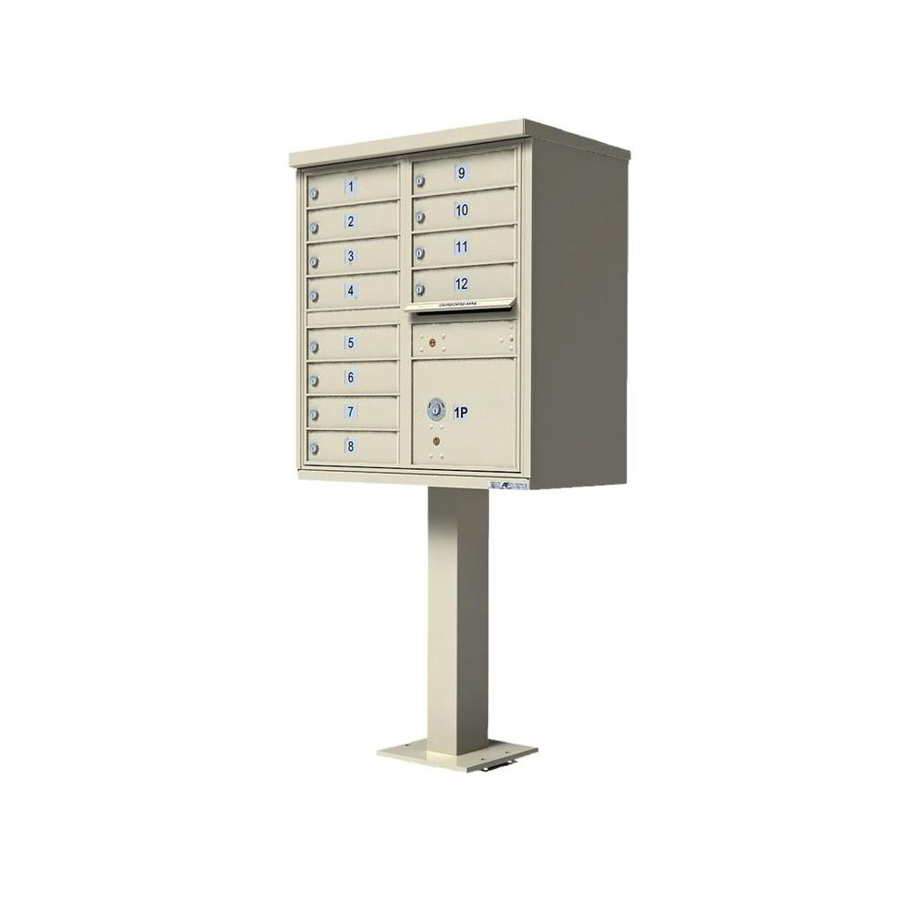 Florence Vital 1570 Series Sandstone CBU with 12 Mailboxes, 1 Outgoing Mail, 1 Parcel Locker